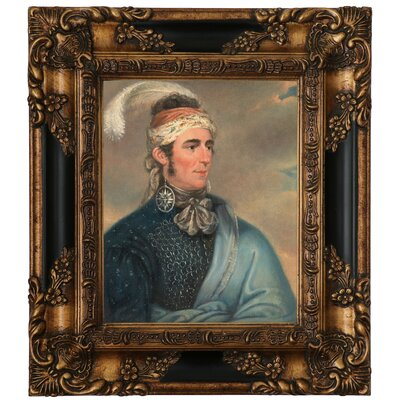 'Portrait of Major John Norton as Mohawk Chief Teyoninhokarawen' Framed Oil Painting Print on Canvas Format: Antique Gold Framed, Size: 15.25