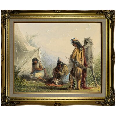 'Indian Courtship 1858' Framed Oil Painting Print on Canvas Format: Brown/Gold Framed, Size: 21.25
