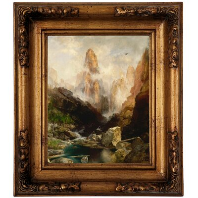 'Mist in Kanab Canyon, Utah' Framed Oil Painting Print on Canvas Format: Antique Gold Framed, Size: 14.5
