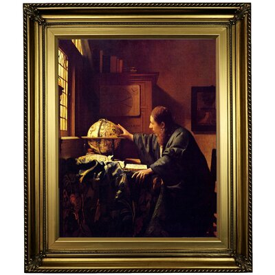 'The astronomer' by Johannes Vermeer Framed Oil Painting Print on Canvas Format: Light Gold Framed, Size: 26