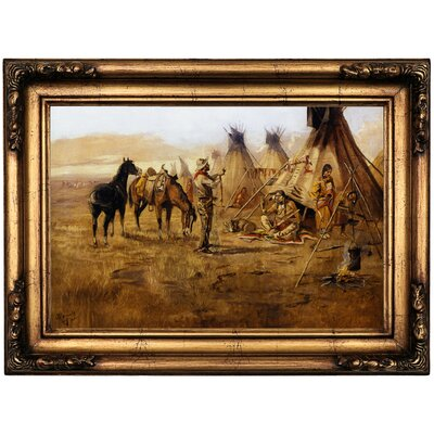 'Cowboy Bargaining for an Indian Girl 1895' Framed Oil Painting Print on Canvas Format: Black/Gold Framed, Size: 16.5'' H x 22.5'' W x 1.75'' D