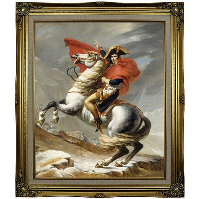 'Napoleon Bonaparte Crossing the Grand Saint-Bernard Pass; 20 May 1800' Framed Oil Painting Print on Canvas Format: Black Gold Framed, Size: 29.25