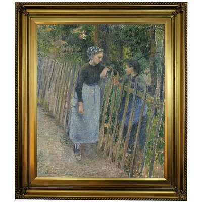 'Conversation 1881' by Camille Pissarro Framed Oil Painting Print on Canvas Format: Light Bronze Frame, Size: 30'' H x 26'' W x 1.5'' D