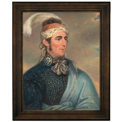 'Portrait of Major John Norton as Mohawk Chief Teyoninhokarawen' Framed Oil Painting Print on Canvas Format: Dark Brown Framed, Size: 16.75