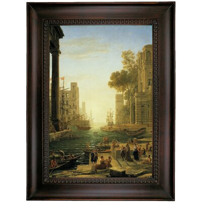 'Landscape with the Embarkment of Saint Paula Romana in Ostia' Framed Oil Painting Print on Canvas Format: Brown Coffee Framed, Size: 35