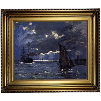 'A Seascape; Shipping' by Claude Monet Framed Print on Canvas Format: Gold Frame, Size: 22