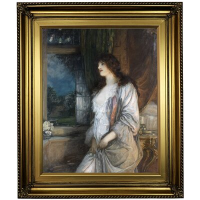 'The nightingales song 1904' Framed Oil Painting Print on Canvas in Gold Format: Light Gold Framed, Size: 26