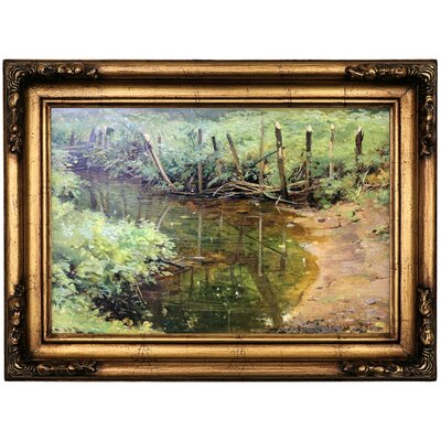 'Dam 1895' Framed Oil Painting Print on Canvas Format: Copper Framed, Size: 16.5'' H x 22.5'' W x 1.75'' D
