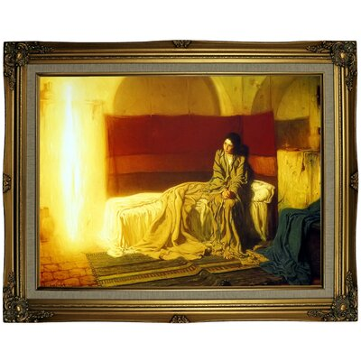 'The Annunciation' Framed Oil Painting Print on Canvas Format: Gold Framed, Size: 23.25