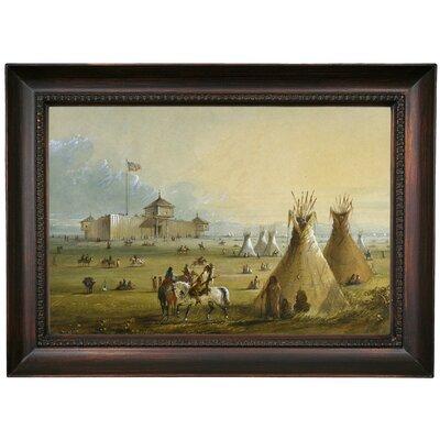 'Fort Laramie 1858' Framed Oil Painting Print on Canvas Format: Dark Brown Framed, Size: 15.5
