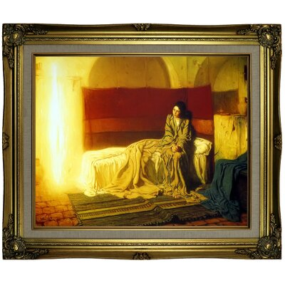 'The Annunciation' Framed Oil Painting Print on Canvas Format: Brown/Gold Framed, Size: 21.25