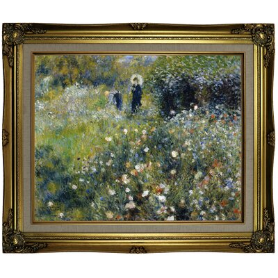 'Woman with a Parasol in a Garden 1875' by Pierre-Auguste Renoir Framed Oil Painting Print on Canvas Format: Brown/Gold Framed, Size: 21.25