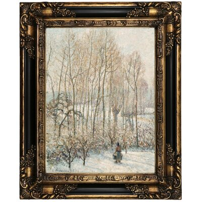 'Morning Sunlight on the Snow; Eragny-sur-Epte' by Camille Pissarro Framed Oil Painting Print on Canvas Format: Peru Framed, Size: 21.25
