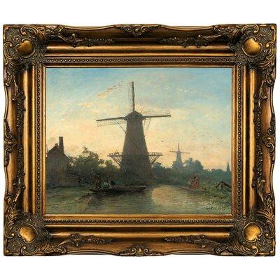 'Mills near Rotterdam 1857' Framed Oil Painting Print on Canvas Format: Dark Gold Framed, Size: 16.5