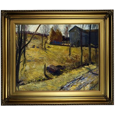 'Haystacks and Barn 1909' Framed Oil Painting Print on Canvas Format: Light Gold Framed, Size: 22