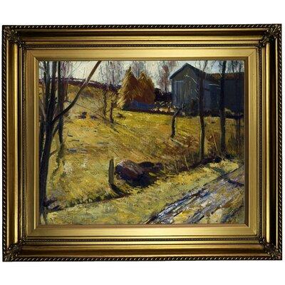 'Haystacks and Barn 1909' Framed Oil Painting Print on Canvas Format: Light Gold Framed, Size: 22