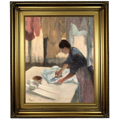 'Woman Ironing 1876' by Edgar Degas Framed Oil Painting Print on Canvas Format: Light Gold Framed, Size: 26