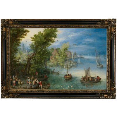 'River Landscape 1607' Traditional Framed Canvas Print