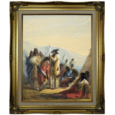 'Presents to Indians 1858' Framed Oil Painting Print on Canvas Format: Brown/Gold Framed, Size: 25.25