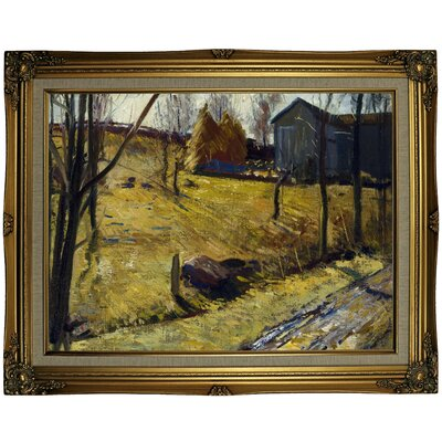 'Haystacks and Barn 1909' Framed Oil Painting Print on Canvas Format: Gold Framed, Size: 23.25