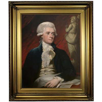 'Portrait of Thomas Jefferson' Framed Oil Painting Print on Canvas Format: Light Gold Framed, Size: 26