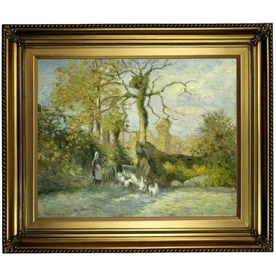 'The Goose Girl at Montfoucault (White Frost) 1875' by Camille Pissarro Framed Oil Painting Print on Canvas Format: Light Gold Framed, Size: 22