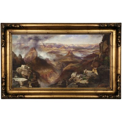 'Grand Canyon of the Colorado River' Framed Oil Painting Print on Canvas Format: Antique Gold Framed, Size: 16.5