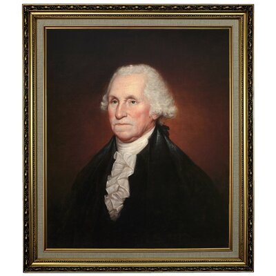 'George Washington 1795' Framed Oil Painting Print on Canvas Format: Yellow Framed, Size: 28.15