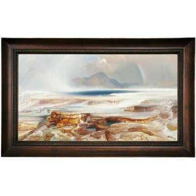 'Hot Springs of the Yellowstone' Framed Oil Painting Print on Canvas Format: Dark Brown Framed, Size: 15.5