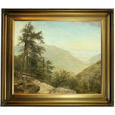 'Kaaterskill Clove 1866' Framed Oil Painting Print on Canvas Format: Yellow Framed, Size: 26