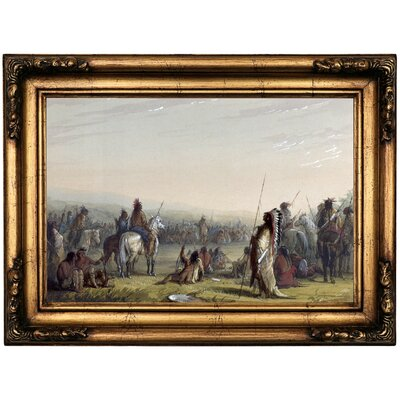 'Indian Council 1858' Framed Oil Painting Print on Canvas Format: Antique Gold Framed, Size: 16.5
