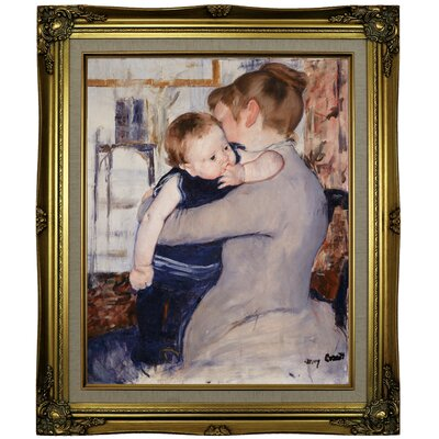 'Mother and Child' by Mary Cassatt Framed Oil Painting Print on Canvas Format: Brown/Gold Framed, Size: 25.25