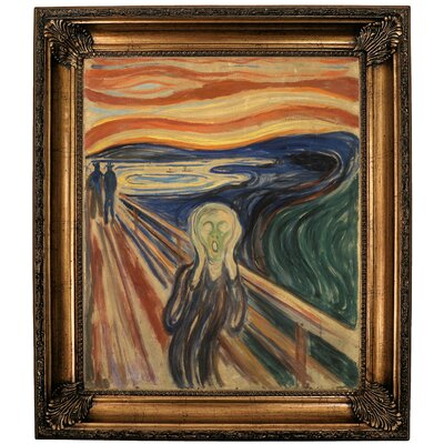 'The Scream 1910' Framed Oil Painting Print on Canvas in Gold Format: Bronze Framed, Size: 30.25