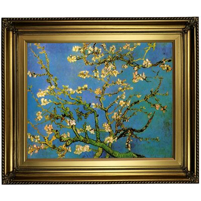 'Blossoming Almond Tree' by Vincent van Gogh Framed Oil Painting Print on Canvas Format: Black/Coral Framed, Size: 24.15'' H x 28.15'' W x 1.75'' D