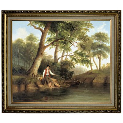 'Man Fishing 1848' Framed Oil Painting Print on Canvas Format: Light Gold Framed, Size: 24.15