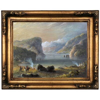 'Lake Scene 1858' Framed Oil Painting Print on Canvas Format: Bronze Framed, Size: 16.5