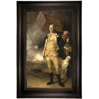 'George Washington at the Battle of Princeton 1784' Framed Oil Painting Print on Canvas Format: Dark Black Framed, Size: 39