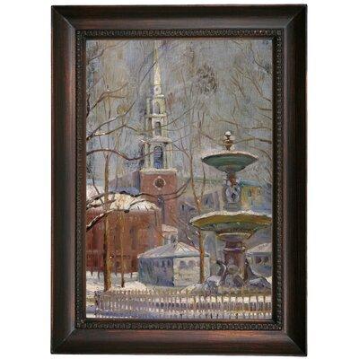 'Park Street at Boston Commons 1908' Framed Oil Painting Print on Canvas Format: Dark Brown Framed, Size: 21.5