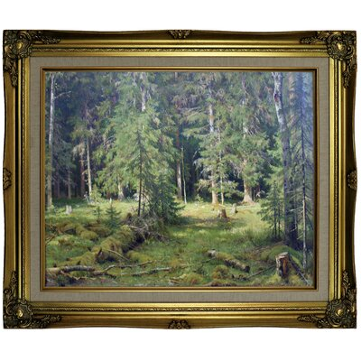 'Forest 1890' Framed Oil Painting Print on Canvas Format: Brown/Gold Framed, Size: 21.25
