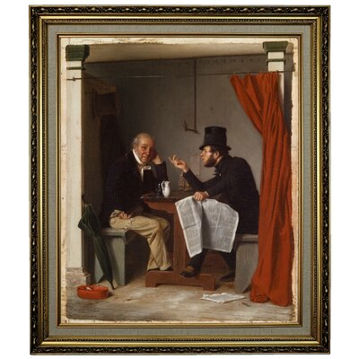 'Politics in an Oyster House 1848' Framed Oil Painting Print on Canvas Format: Yellow Framed, Size: 28.15
