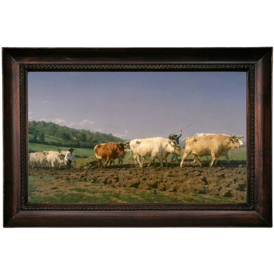 'Ploughing in Nevers 1849' Framed Oil Painting Print on Canvas Format: Dark Gray Framed, Size: 15.5