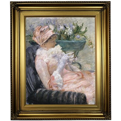 'The Cup of Tea 1880' by Mary Cassatt Framed Oil Painting Print on Canvas Format: Light Gold Framed, Size: 26