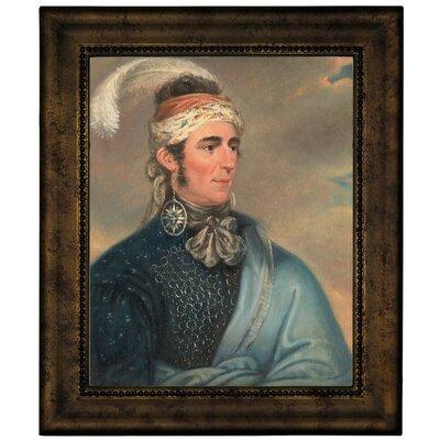 'Portrait of Major John Norton as Mohawk Chief Teyoninhokarawen' Framed Oil Painting Print on Canvas Format: Dark Gold Framed, Size: 12.75