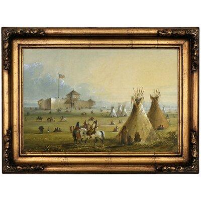 'Fort Laramie 1858' Framed Oil Painting Print on Canvas Format: Antique Gold Framed, Size: 16.5