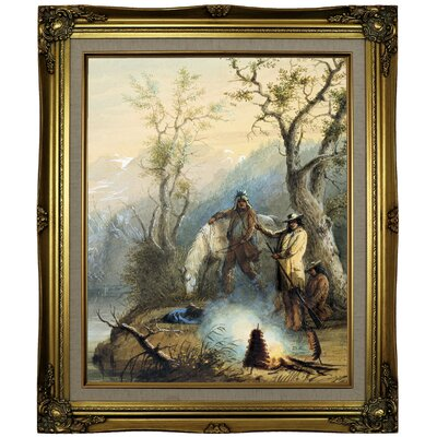 """'Roasting the Hump Rib 1858' Framed Oil Painting Print on Canvas Size: 25.25"""" H x 21.25"""" W x 1.5"""" D, Format: Brown/Gold Framed LOPK7682 43590606"""