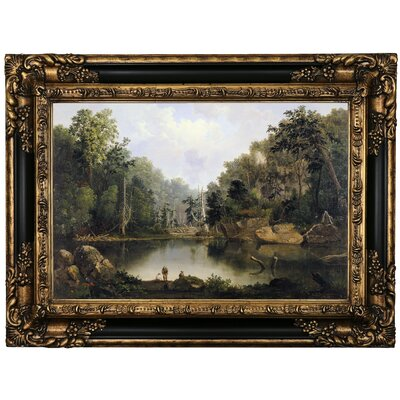 'Blue Hole, Flood Waters, Little Miami River' Framed Oil Painting Print on Canvas Format: Black/Gold Framed, Size: 17.25'' H x 23.25'' W x 1.5'' D