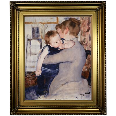 'Mother and Child' by Mary Cassatt Framed Oil Painting Print on Canvas Format: Light Gold Framed, Size: 26