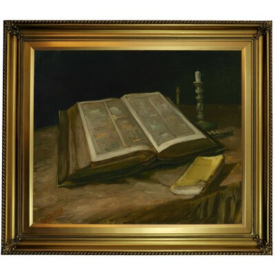 'Still life with Bible' by Vincent van Gogh Framed Oil Painting Print on Canvas Format: Gold Framed, Size: 26