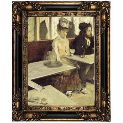 'In a Cafe 1873' by Edgar Degas Framed Oil Painting Print on Canvas Format: Peru Framed, Size: 21.25