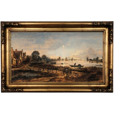 'River View' Framed Oil Painting Print on Canvas Format: Antique Gold Framed, Size: 16.5